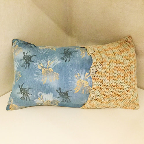 Contemporary Crochet and Printed Cushion Cover