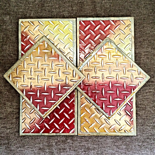 "Six Coloured ""Plate"" Metal Embossed Coasters"