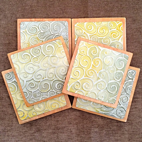 "Six Coloured ""Swirl"" Metal Embossed Coasters"
