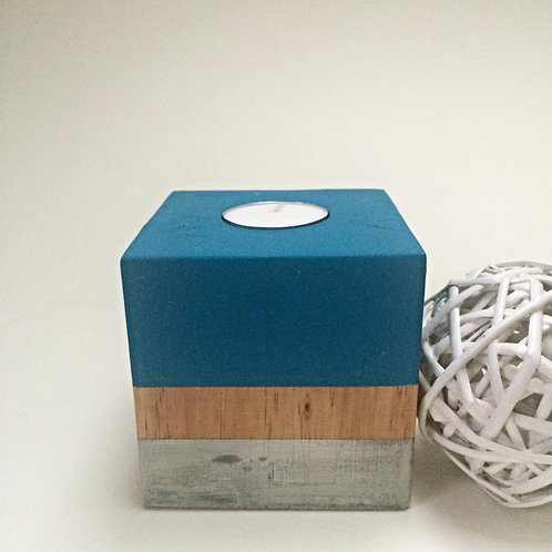Blue Chalkboard Wooden Tea-Light Candle Holder