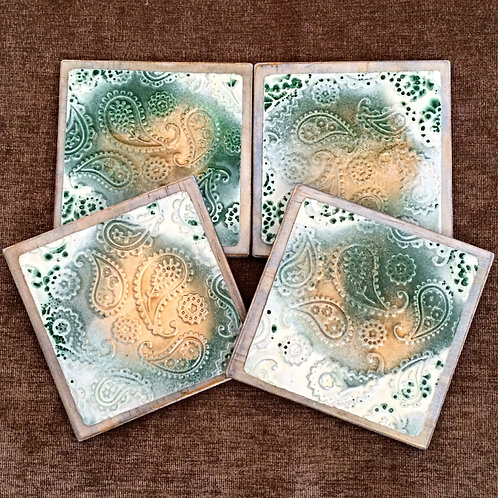 "Four Coloured ""Paisley"" Metal Embossed Coasters"