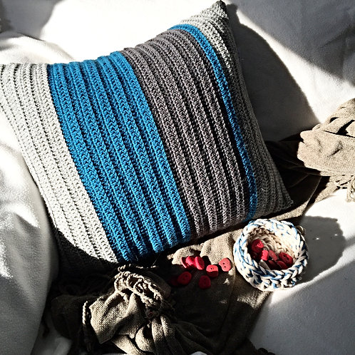 Blues and Greys Pure Wool Crochet Cushion Cover