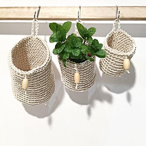 Round Thin Cotton Twine Hanging Baskets