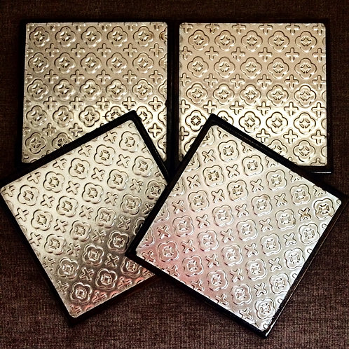 "Set of Four ""Cross"" Metal Embossed Coasters"