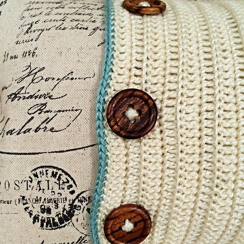 Contemporary Sky Blue Crochet Featured Cushion