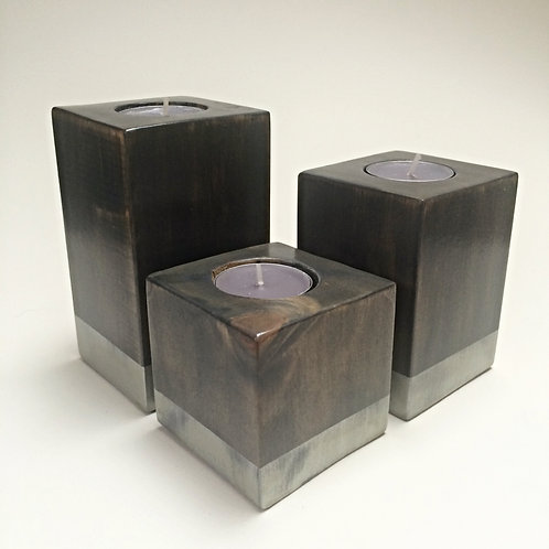 Grey/Silver Wooden Tea-Light Candle Holder