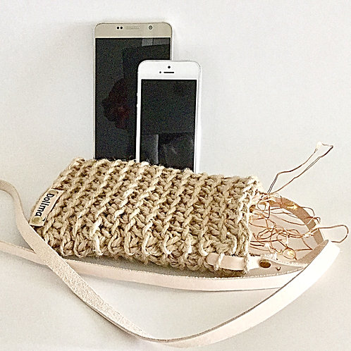 Small Crochet Natural Jute Phone Pouch