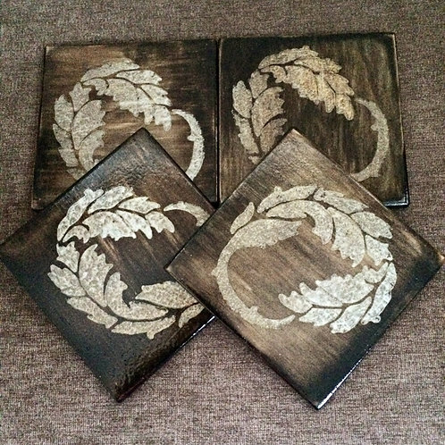 "Set of Four ""Leaf"" Stencilled Coasters"