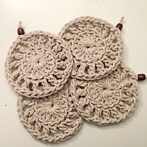 Set of 4 or 6 Cotton Crochet Coasters