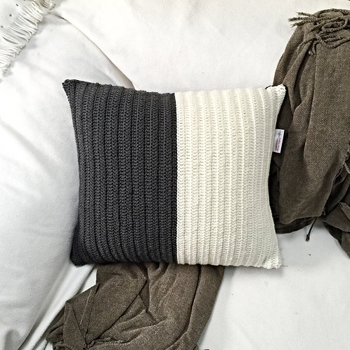 White and Grey Pure Wool Crochet Cushion Cover