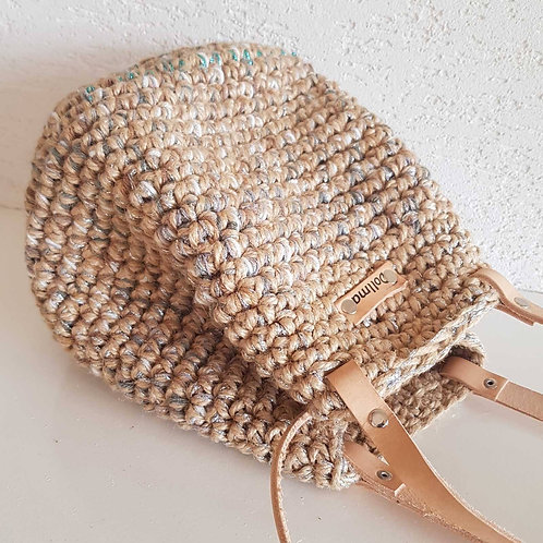 """ Bell"" Jute and Leather Crochet Bag"