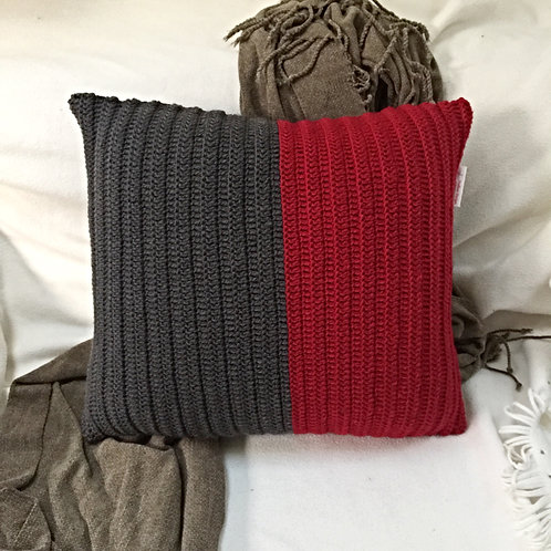 Burgundy and Grey Pure Wool Crochet Cushion Cover