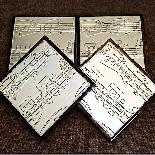 "Set of Four ""Music Notes"" Metal Embossed Coasters"