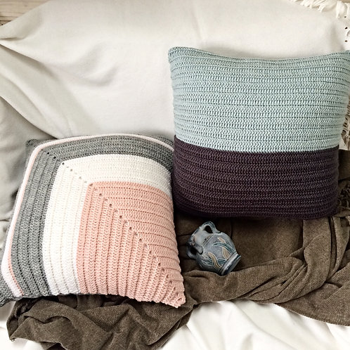 Light Blue and Charchoal Pure Wool Cushion Cover