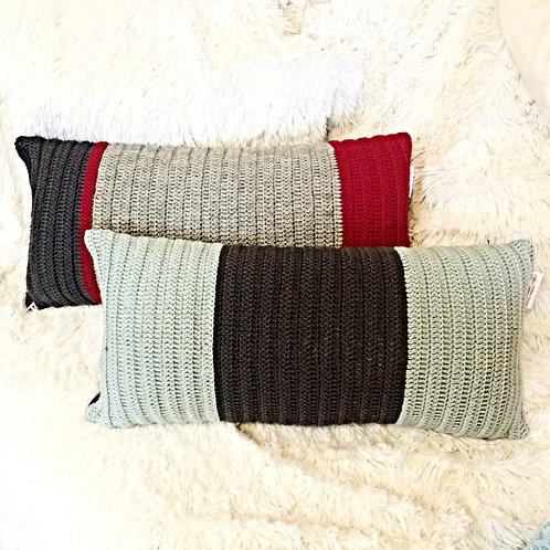 Light Blue and Dark Grey Wool Cushion