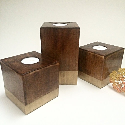 Walnut/Gold Wooden Tea-Light Candle Holder