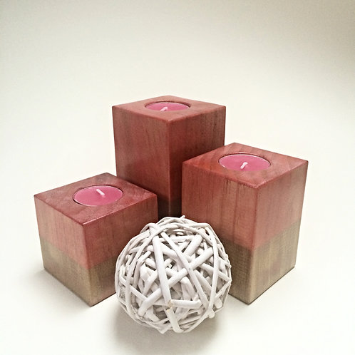 Red/Pink/Gold Wooden Tea-Light Candle Holder