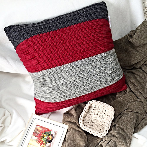Red, Light Grey and Dark Grey Pure Wool Cushion
