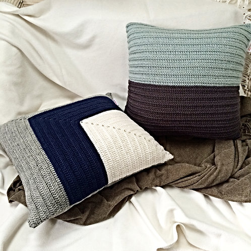 Navy, Grey and Off-White Pure Wool Crochet Cushion