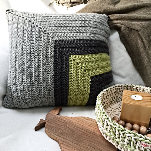 Green and Greys Pure Wool Crochet Cushion Cover