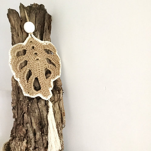 Jute and CottonTrim Crochet Leaf Wall Hanging