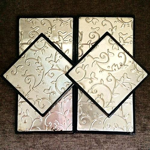 """Set of Six """"Birds"""" Metal Embossed Coasters"""
