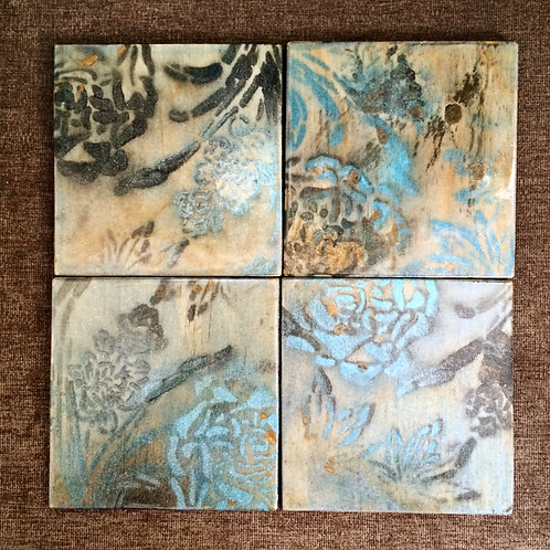 "Set of Four ""Flowers"" Stencilled Coasters"