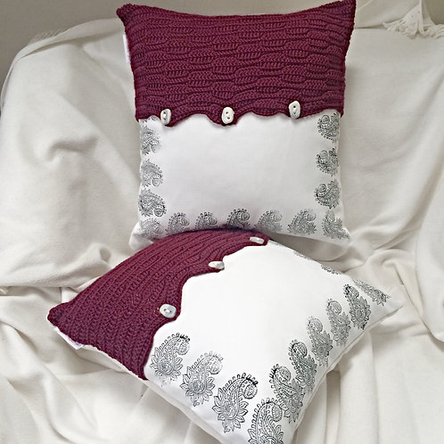 Contemporary Crochet and Print Featured Cushion