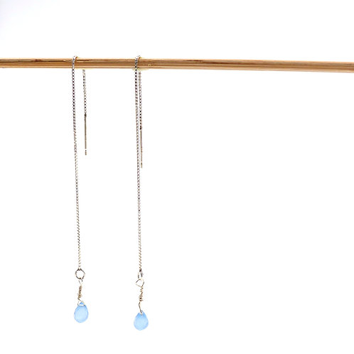 Jewelry, Earrings, 925 silver earwires, calcedoine, blue, E-shop, The Right to Be Happy, Paris