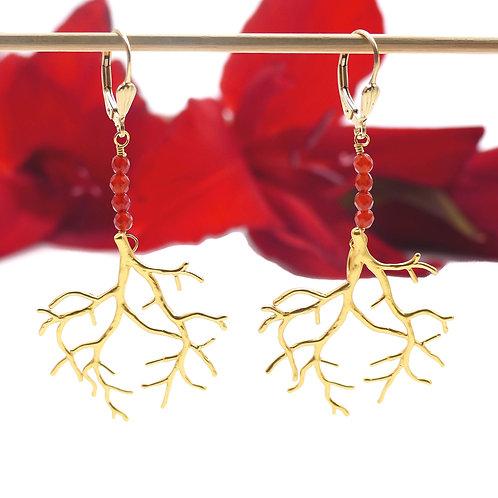 Bijou, Boucles d'oreilles, corail doré à l'or fin, cornaline rouge, Boutique Le Droit à la Belle Vie, Paris
