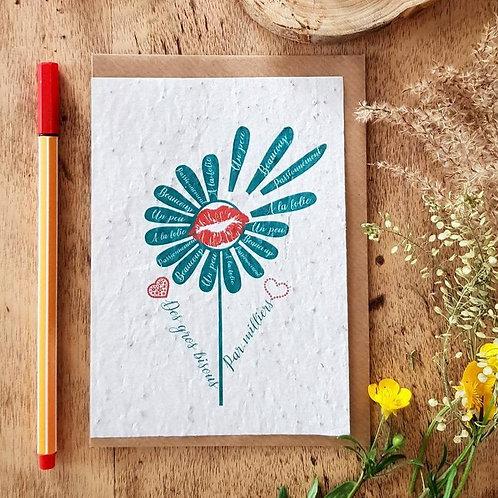 Iza Lan Atelier, Carte postale, carte à planter, Merci, bisous, fleur, graine, Boutique Les créateurs de saison, Paris