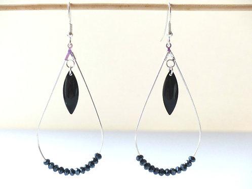 Creole Drop : black crystal bead