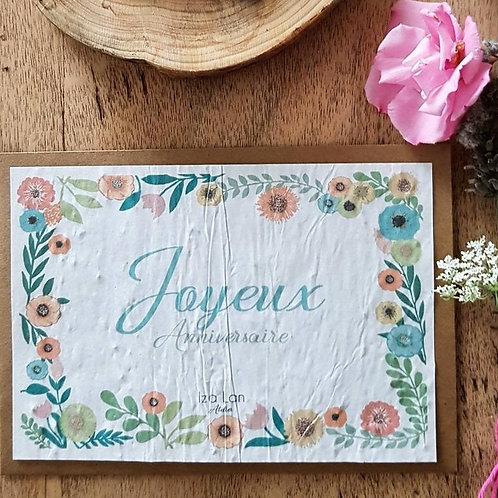 Iza Lan Atelier, Carte postale, carte à planter, joyeux anniversaire, fleur, graine, Boutique Les créateurs de saison, Paris