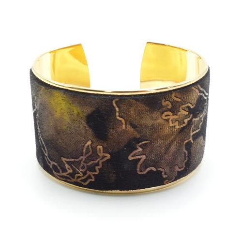 Manchette, bracelet doré à l'or fin, cuir, feuille, noir, cadeau, Boutique Le Droit à la Belle Vie, Paris