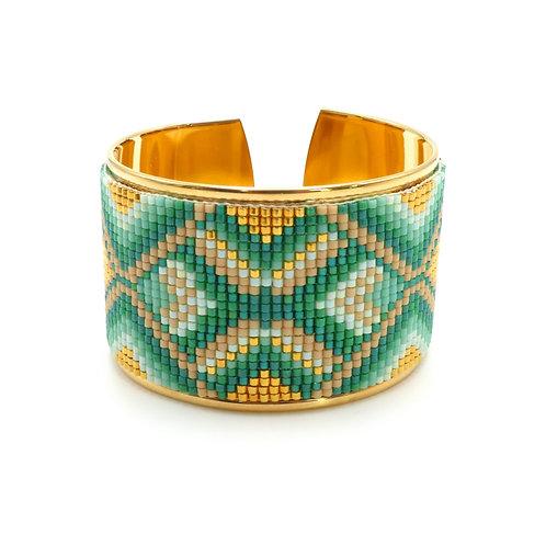 Bijou, Bracelet, Manchette doré or fin avec tissage perles, Miyuki, vert, or, marron, Boutique Le Droit à la Belle Vie, Paris