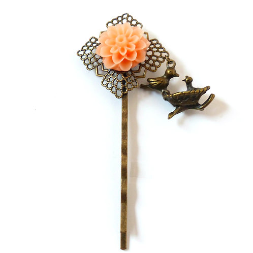Barrette collection Nid d'amour, rose