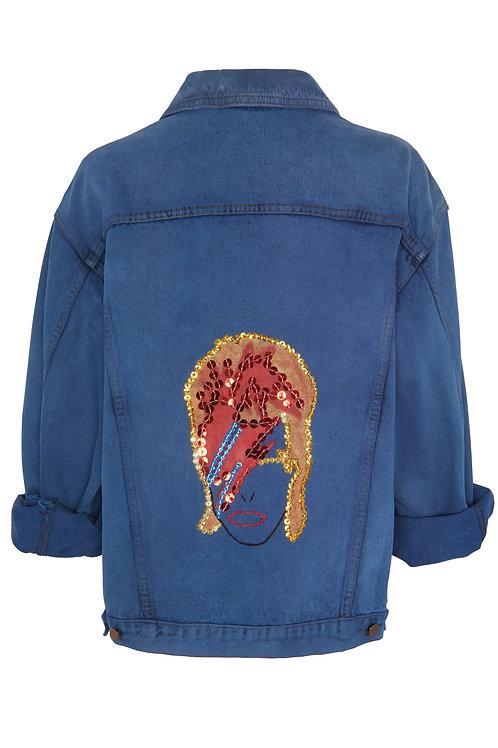 Veste en jean Vintage : Bowie rouge