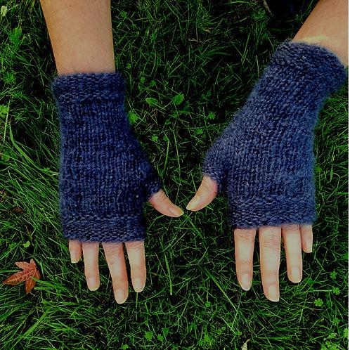 Mitaines mohair, gris, tricoté main, De maille en fille, les créateurs de saison