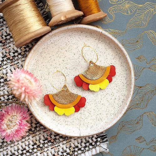 Boucles d'oreilles, doré à l'or fin, fleur ginkgo ,cuir, marron, doré,Chenoha Studio, Boutique Les créateurs de saison, Paris