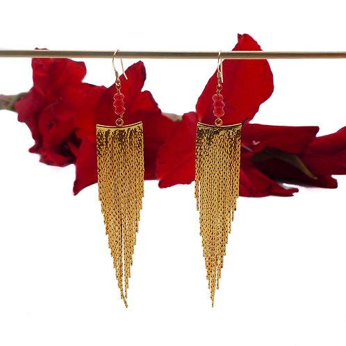 Bijou, Boucles d'oreilles, Plaqué or, agate, rouge, fête, Le Droit à la Belle Vie, Boutique Les créateurs de saison, Paris