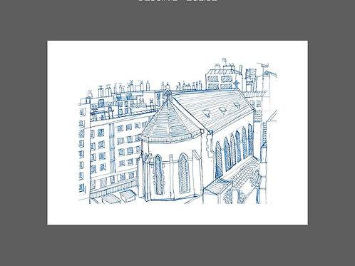 Dessin Depuis la fenêtre, Eglise, bleu, Paris, Manon Sénal, Boutique Les créateurs de saison, Paris