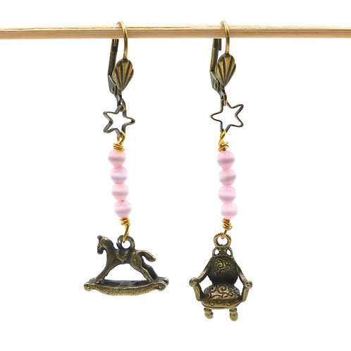 Jewelry, Earrings, brass star, pink bead, rocking horse and armchair, brass leverback, E-shop, The Right to Be Happy, Paris