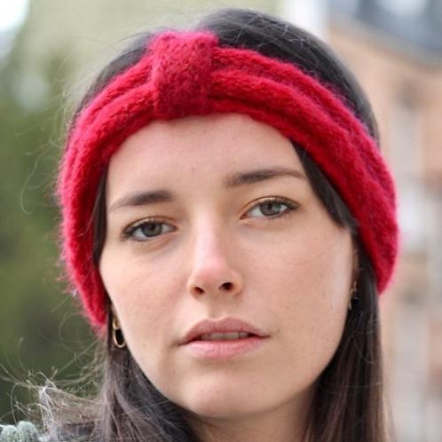 Bandeau, mohair et soie, rouge, tricoté main, De maille en fille, Boutique Les créateurs de saison, Paris