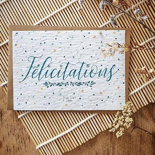 Iza Lan Atelier, Carte postale, carte à planter, Félicitations, fleurs, graines, Boutique Les créateurs de saison, Paris