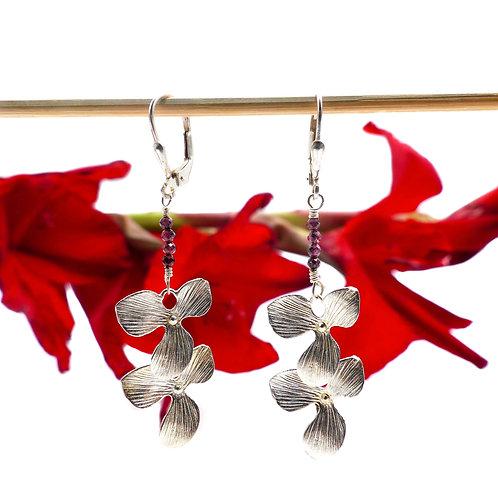 Bijou, Boucles d'oreilles, orchidée, argent, grenat, rouge, cadeau soirée, Boutique Le Droit à la Belle Vie, Paris