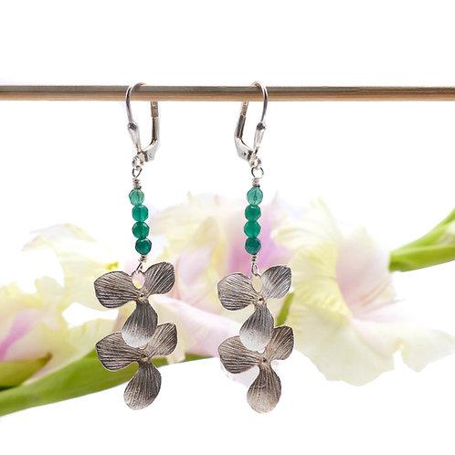 Bijou, Boucles d'oreilles, orchidée, fleur, argent, agate verte, cadeau soirée, Boutique Le Droit à la Belle Vie, Paris