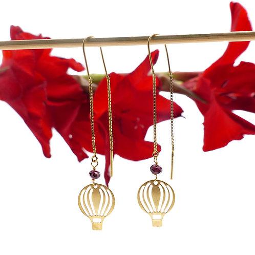 Bijou, Boucles d'oreilles, doré or fin, montgolfière, rouge, Le Droit à la Belle Vie, Boutique Les créateurs de saison, Paris