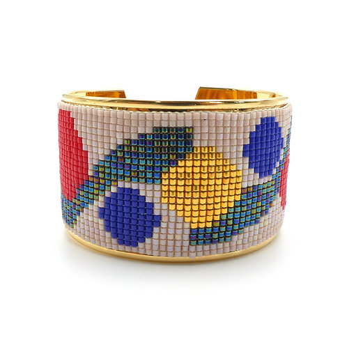 Bracelet, cuff, Miyuki pearl weaving, blue, red, golden, The Right to Be Happy, Paris