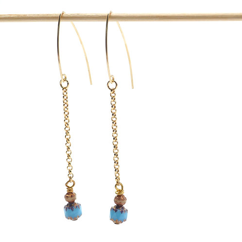 Jewelry, Earrings, Gold-plated chain, pearls of Bohemia, blue, white, gold-filled hook, E-shop, The Right to Be Happy, Paris