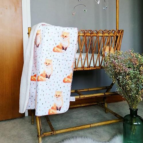 Couverture bébé, renard, coton bio, polaire bio, indien, animal, Une touche de magie, Boutique Les créateurs de saison, Paris